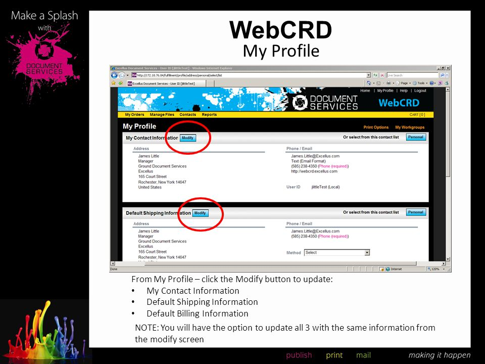 WebCRD My Profile From My Profile – click the Modify button to update: