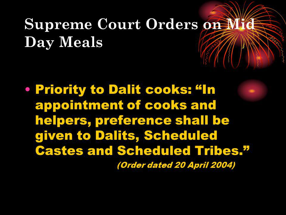 Supreme Court Orders on Mid Day Meals