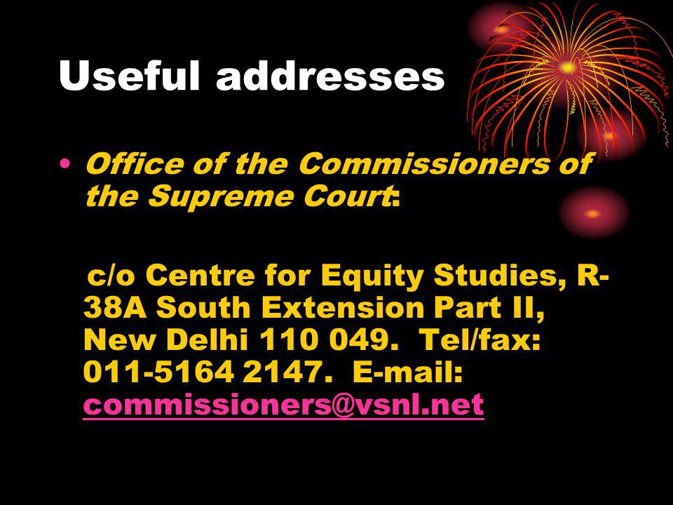 Useful addresses Office of the Commissioners of the Supreme Court: