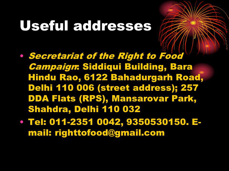 Useful addresses