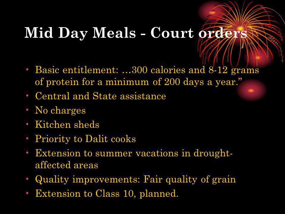 Mid Day Meals - Court orders