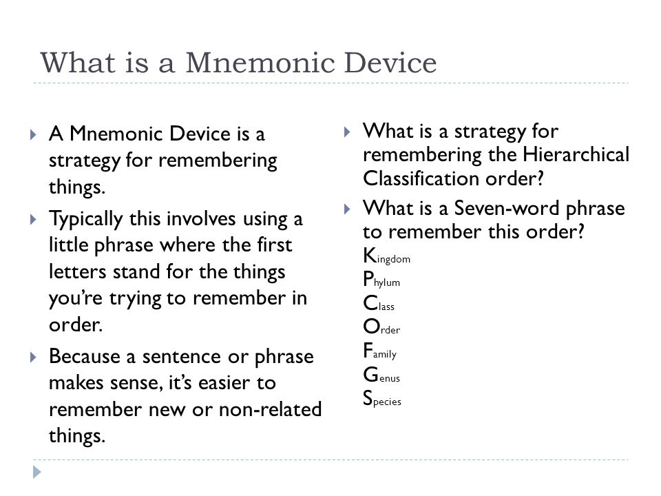 What is a Mnemonic Device