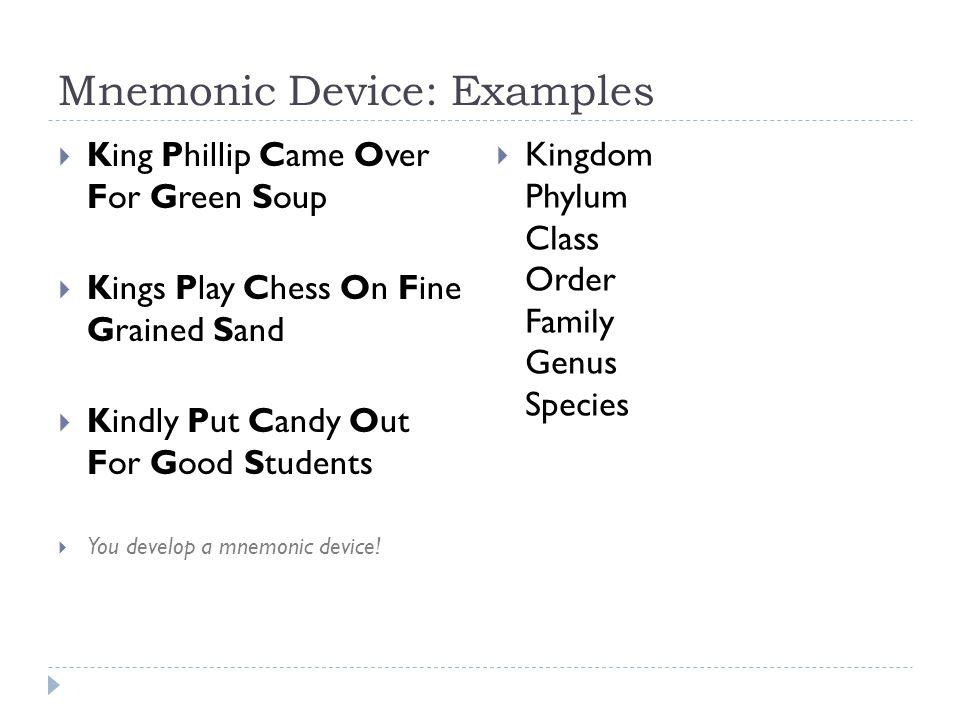 Mnemonic Device: Examples