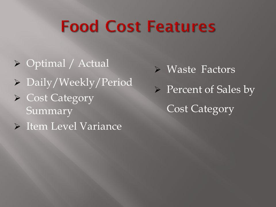 Food Cost Features Optimal / Actual Waste Factors Daily/Weekly/Period