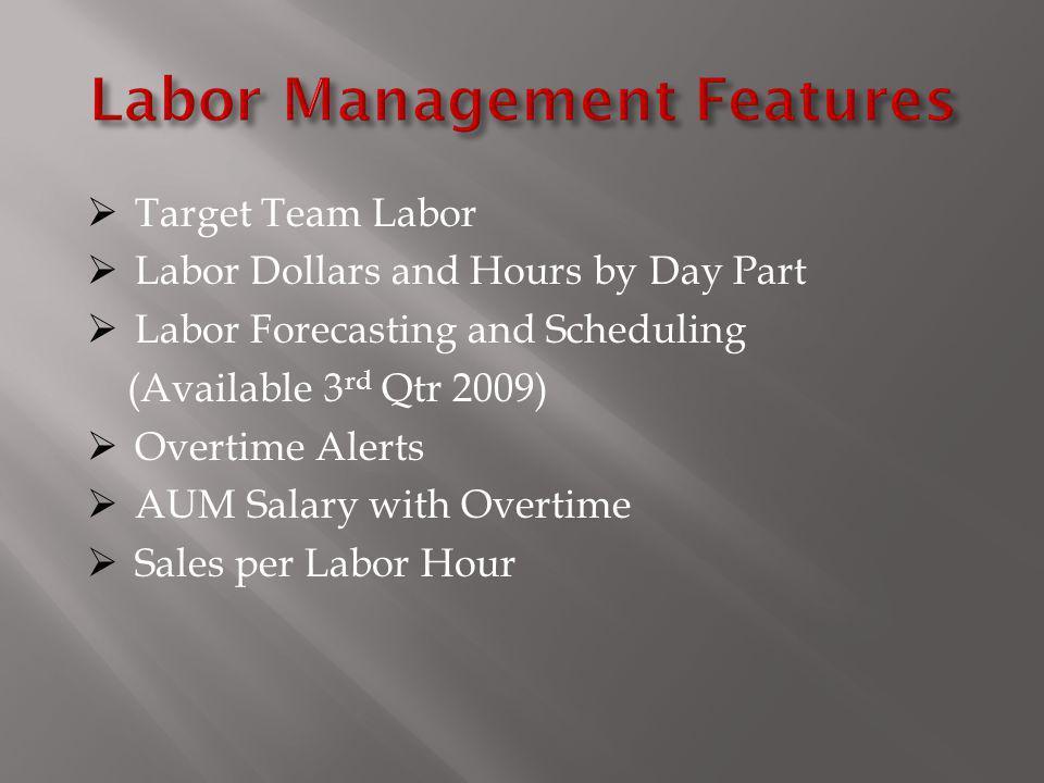 Labor Management Features