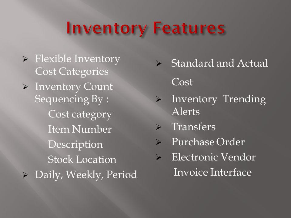 Inventory Features Flexible Inventory Cost Categories