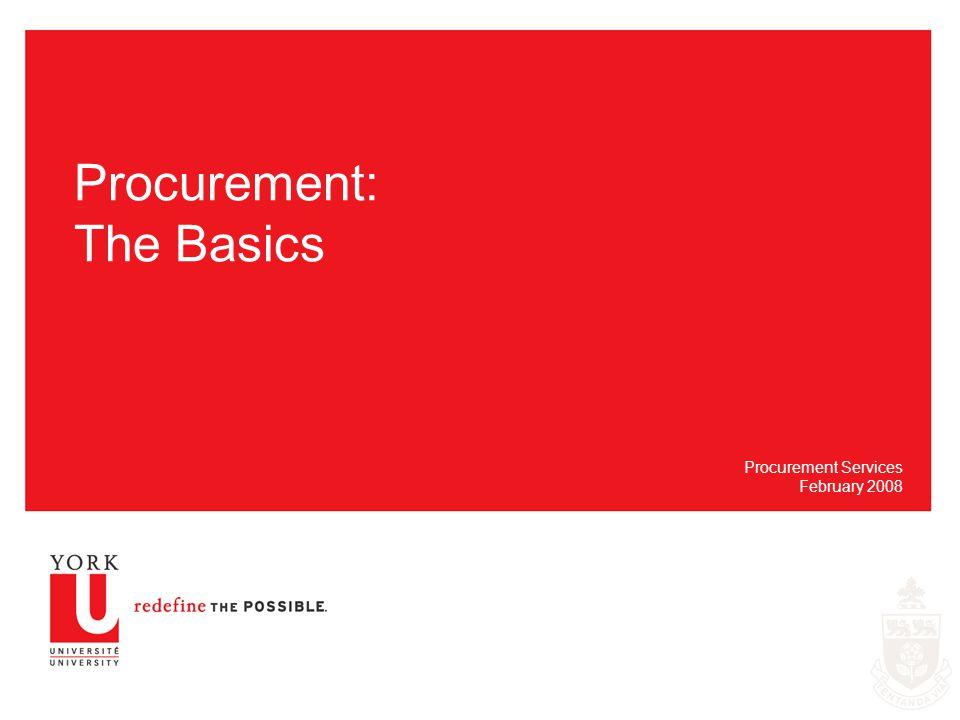 Procurement: The Basics