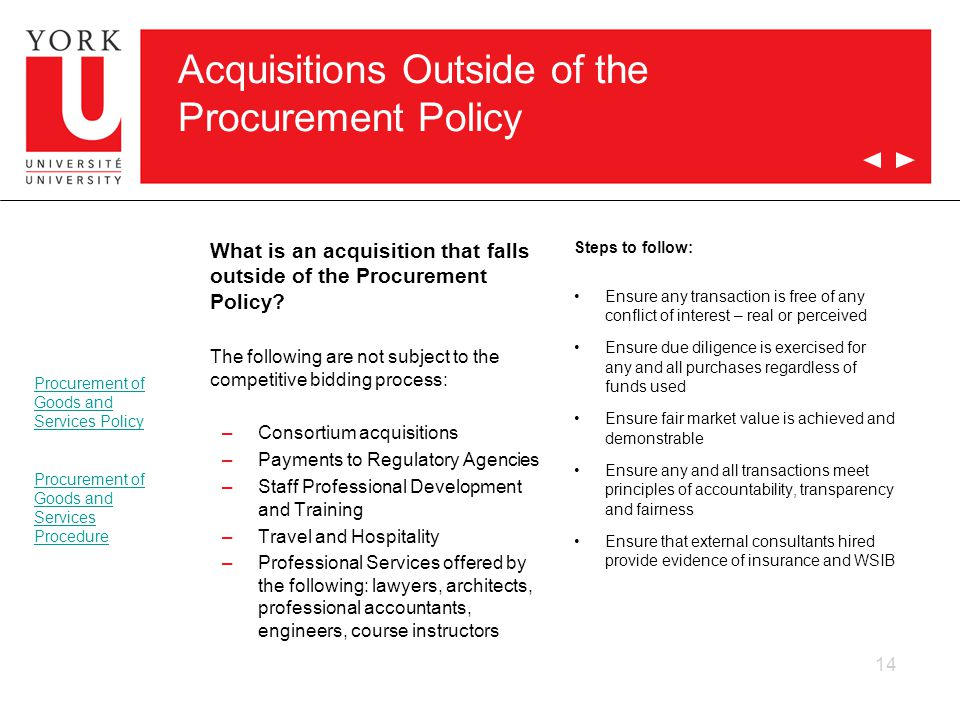 Acquisitions Outside of the Procurement Policy