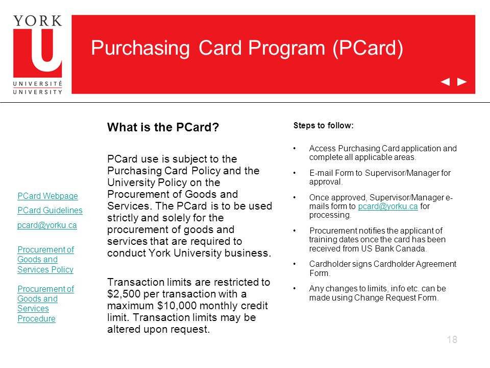 Purchasing Card Program (PCard)