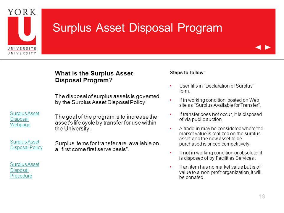 Surplus Asset Disposal Program