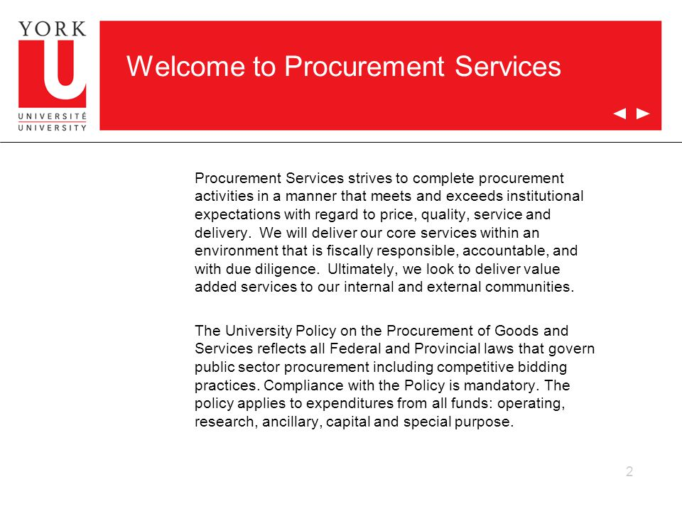 Welcome to Procurement Services