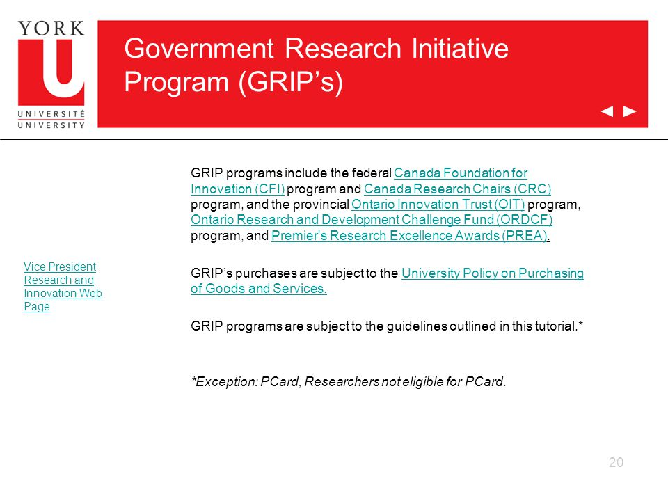 Government Research Initiative Program (GRIP's)
