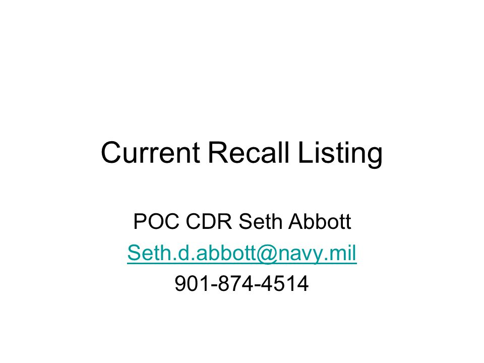 Current Recall Listing