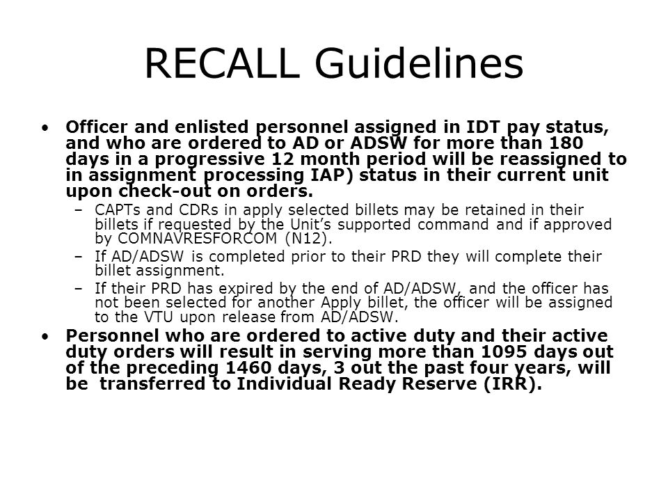 RECALL Guidelines