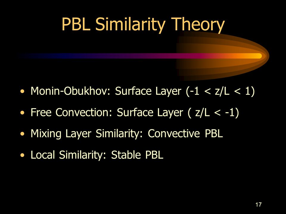 PBL Similarity Theory Monin-Obukhov: Surface Layer (-1 < z/L < 1) Free Convection: Surface Layer ( z/L < -1)