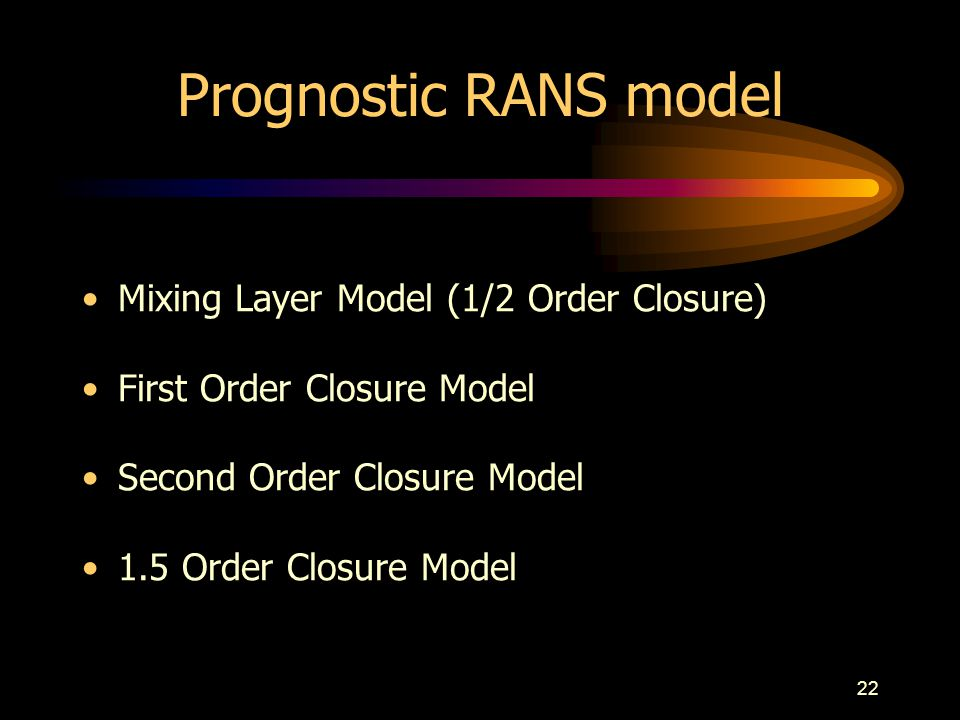 Prognostic RANS model Mixing Layer Model (1/2 Order Closure)