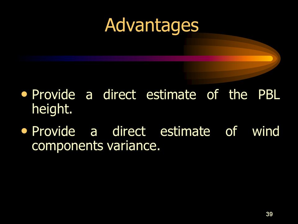 Advantages Provide a direct estimate of the PBL height.