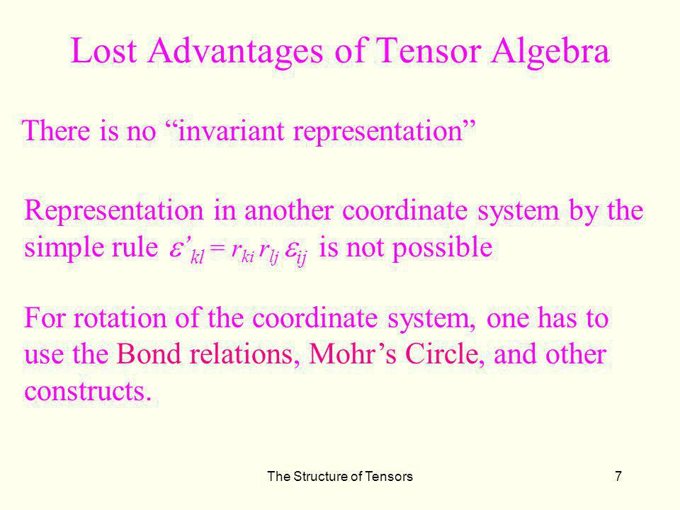 Lost Advantages of Tensor Algebra