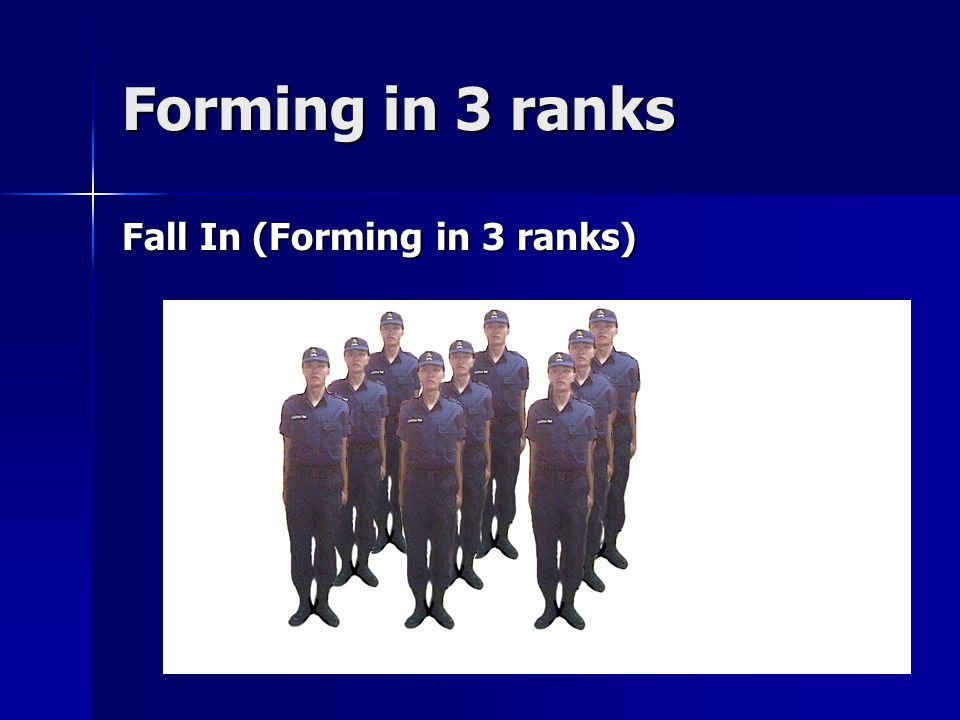 Forming in 3 ranks Fall In (Forming in 3 ranks)