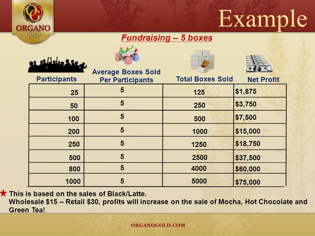 Example Fundraising – 5 boxes Average Boxes Sold Per Participants
