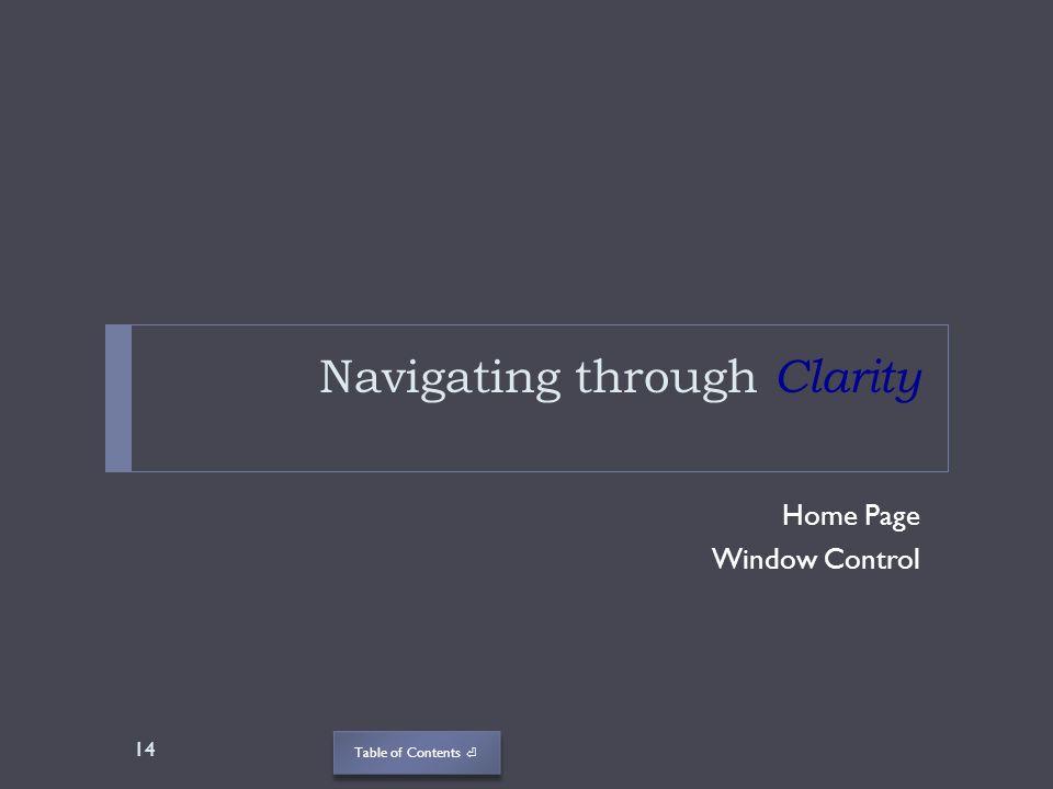 Navigating through Clarity