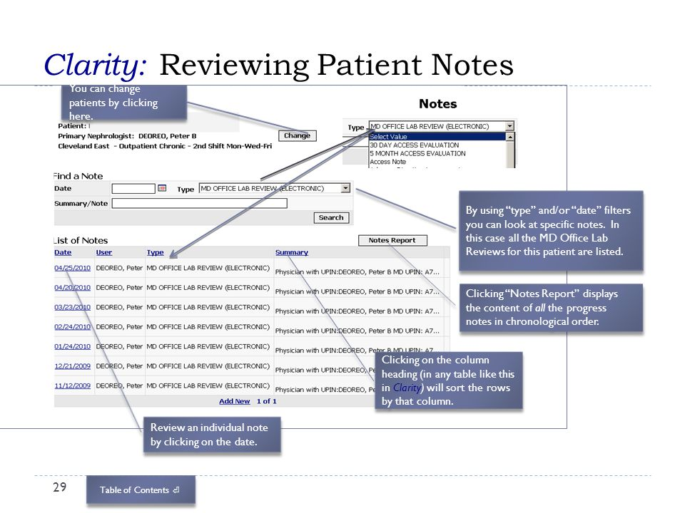Clarity: Reviewing Patient Notes