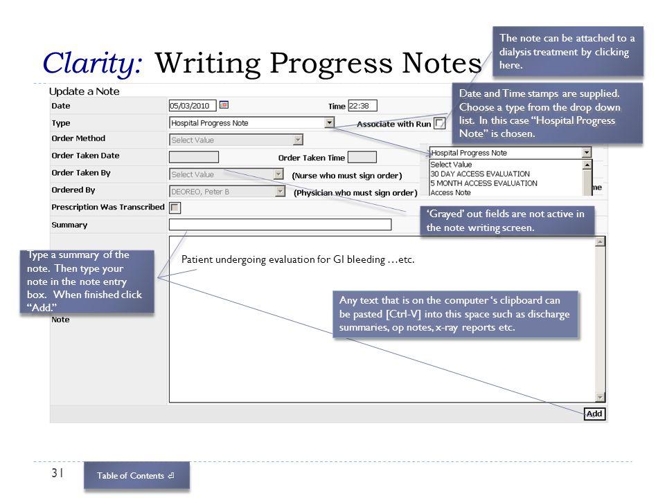 Clarity: Writing Progress Notes
