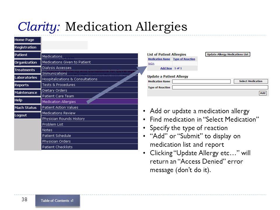 Clarity: Medication Allergies
