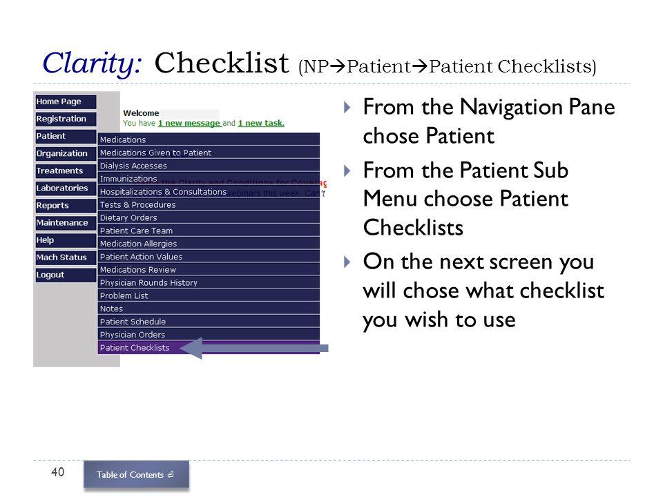 Clarity: Checklist (NPPatientPatient Checklists)