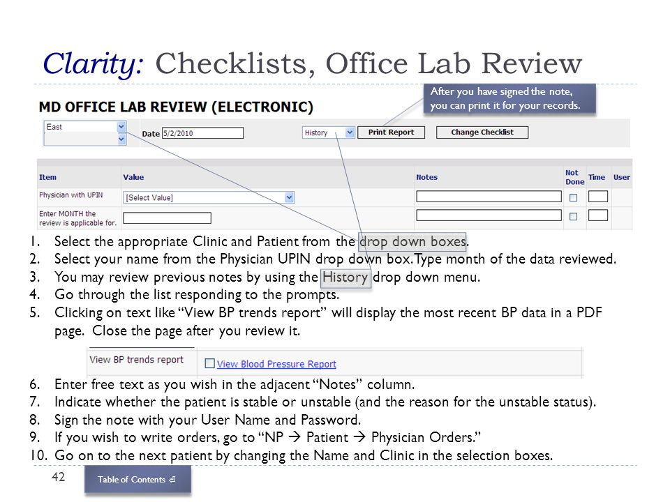 Clarity: Checklists, Office Lab Review