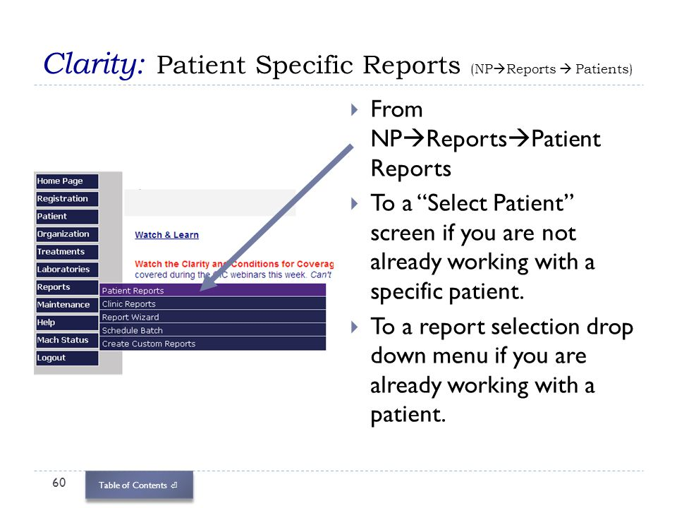 Clarity: Patient Specific Reports (NPReports  Patients)