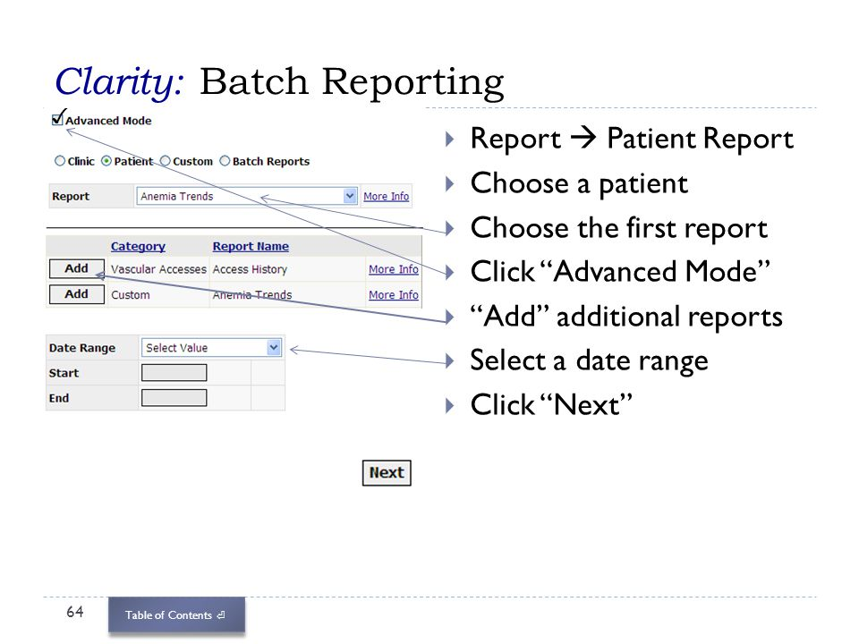 Clarity: Batch Reporting