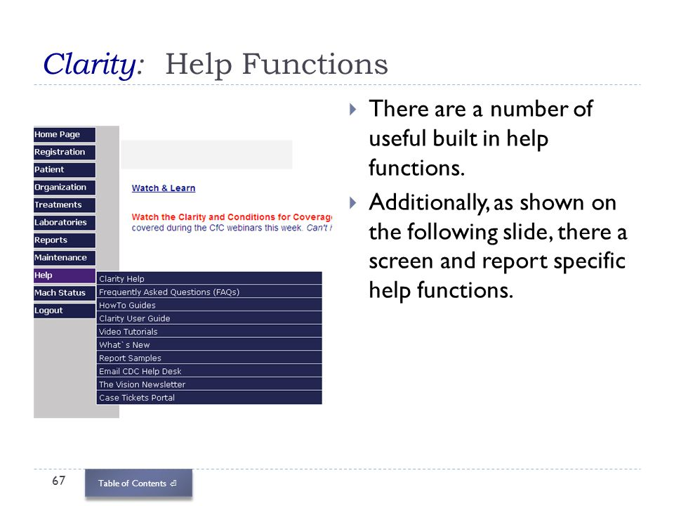 Clarity: Help Functions