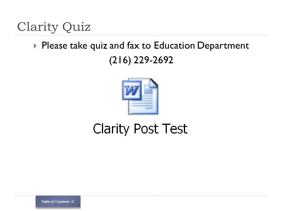 Please take quiz and fax to Education Department