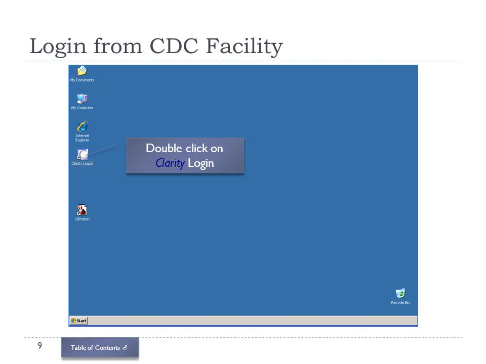 Login from CDC Facility
