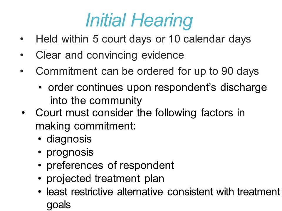Initial Hearing Held within 5 court days or 10 calendar days
