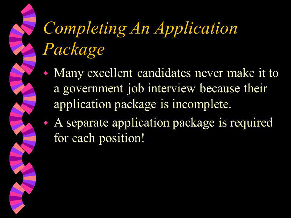 Completing An Application Package