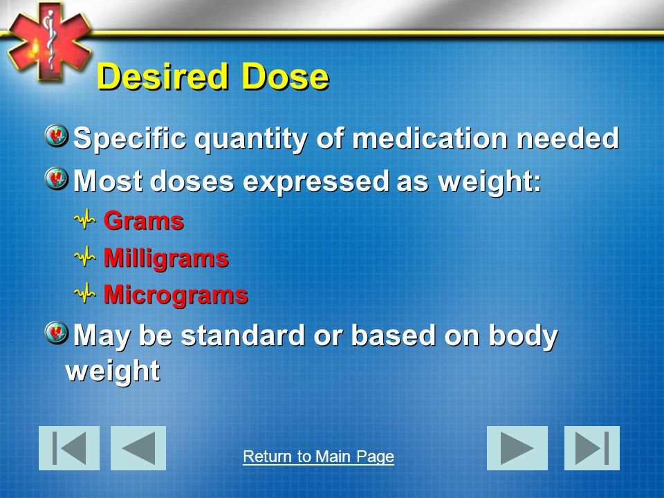 Desired Dose Specific quantity of medication needed