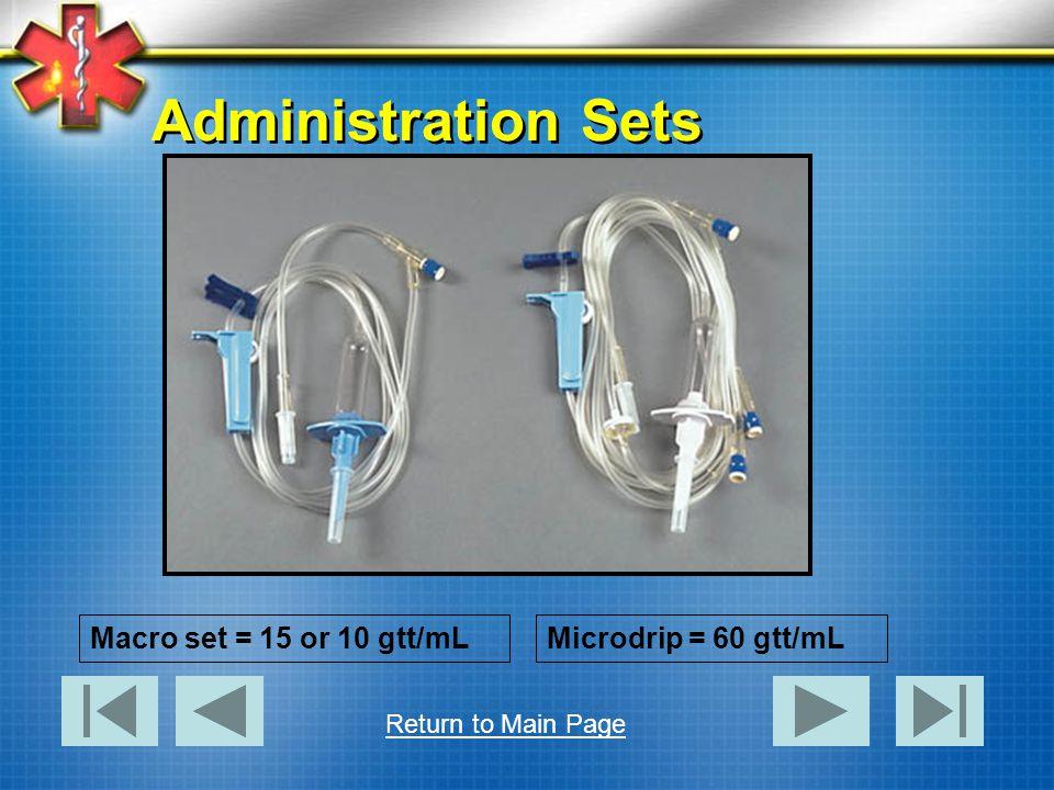 Administration Sets Macro set = 15 or 10 gtt/mL Microdrip = 60 gtt/mL
