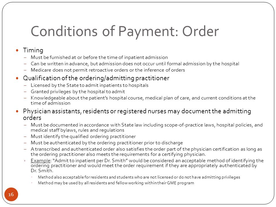 Conditions of Payment: Order