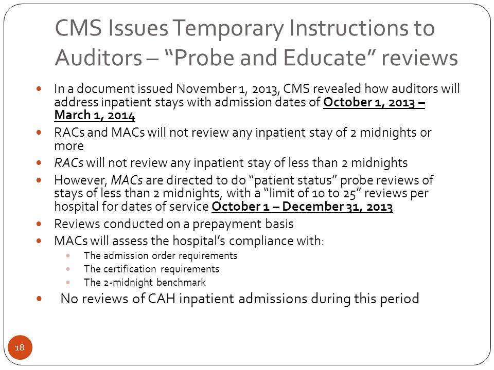 CMS Issues Temporary Instructions to Auditors – Probe and Educate reviews