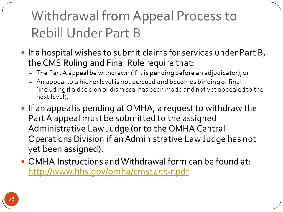 Withdrawal from Appeal Process to Rebill Under Part B