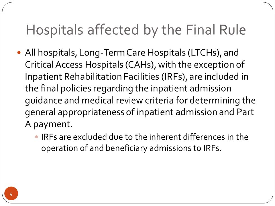 Hospitals affected by the Final Rule