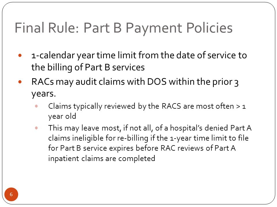 Final Rule: Part B Payment Policies