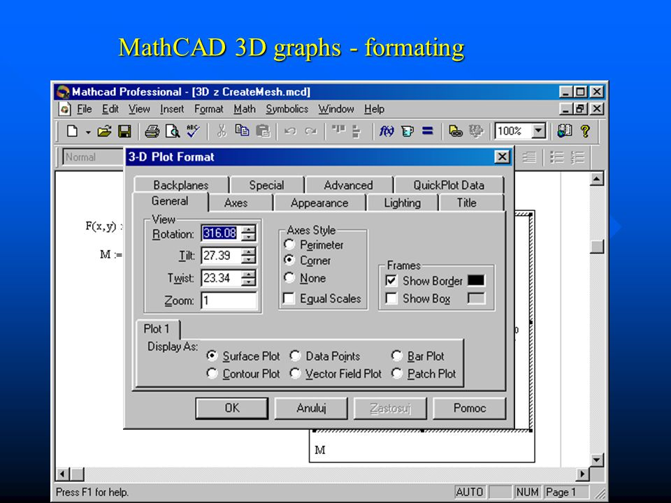 MathCAD 3D graphs - formating