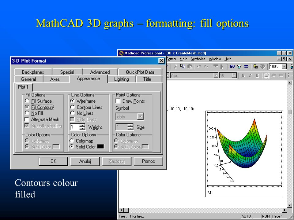 MathCAD 3D graphs – formatting: fill options