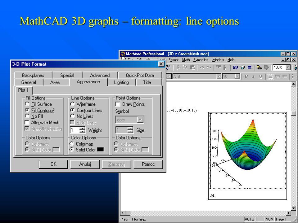 MathCAD 3D graphs – formatting: line options