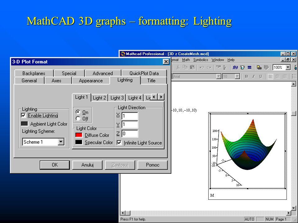 MathCAD 3D graphs – formatting: Lighting