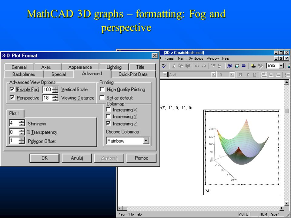 MathCAD 3D graphs – formatting: Fog and perspective