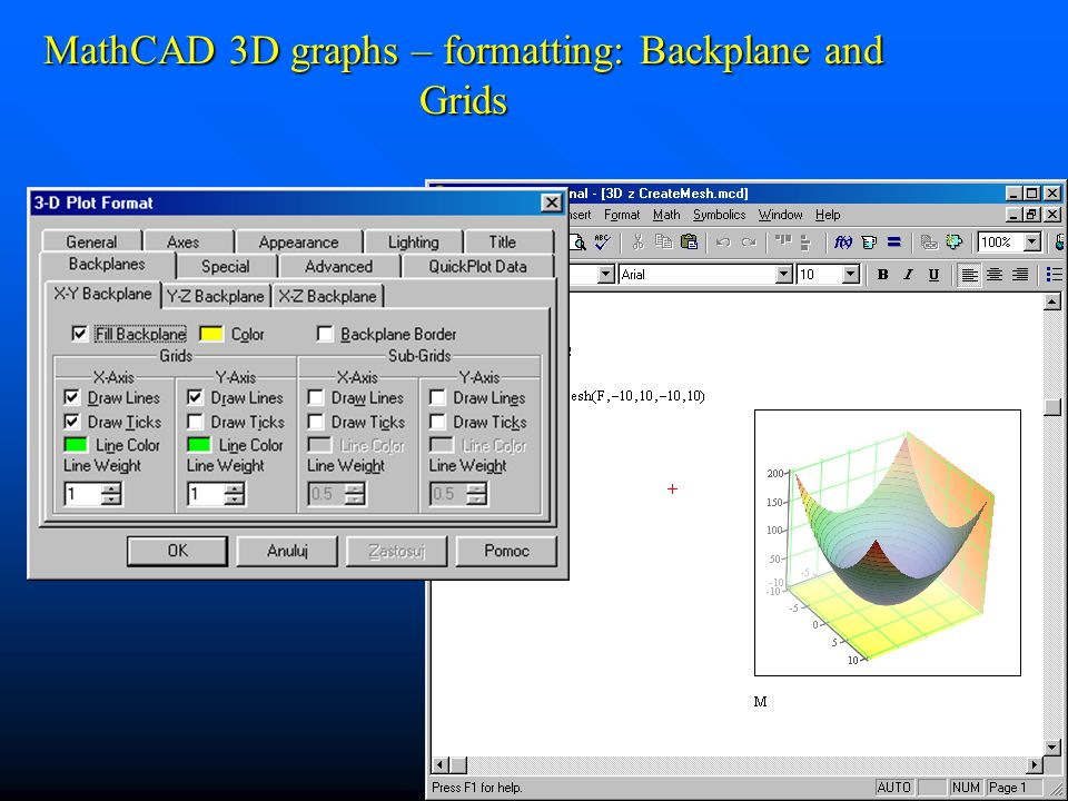 MathCAD 3D graphs – formatting: Backplane and Grids